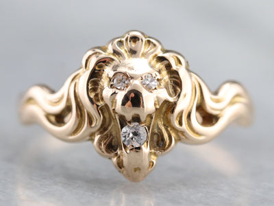 Gold and Diamond Lion Head Ring