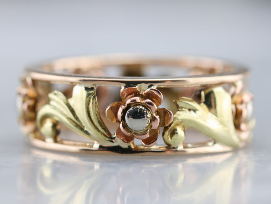 Vintage Mixed Metal Floral Band