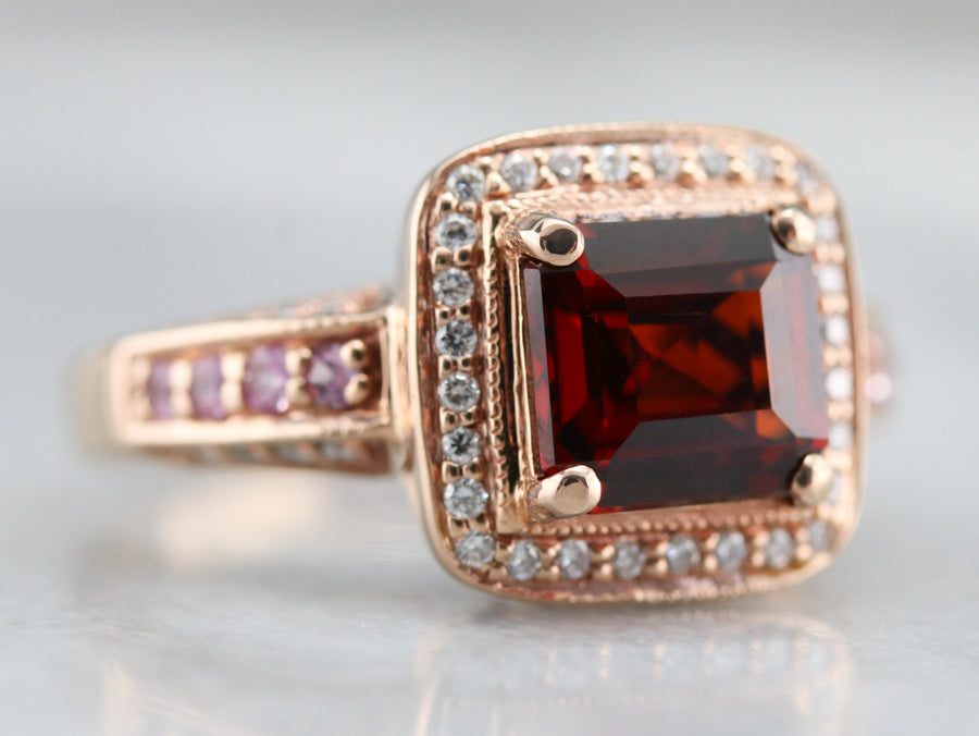 Garnet Sapphire and Diamond Halo Ring