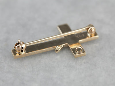 Vintage Seed Pearl Cross Pin