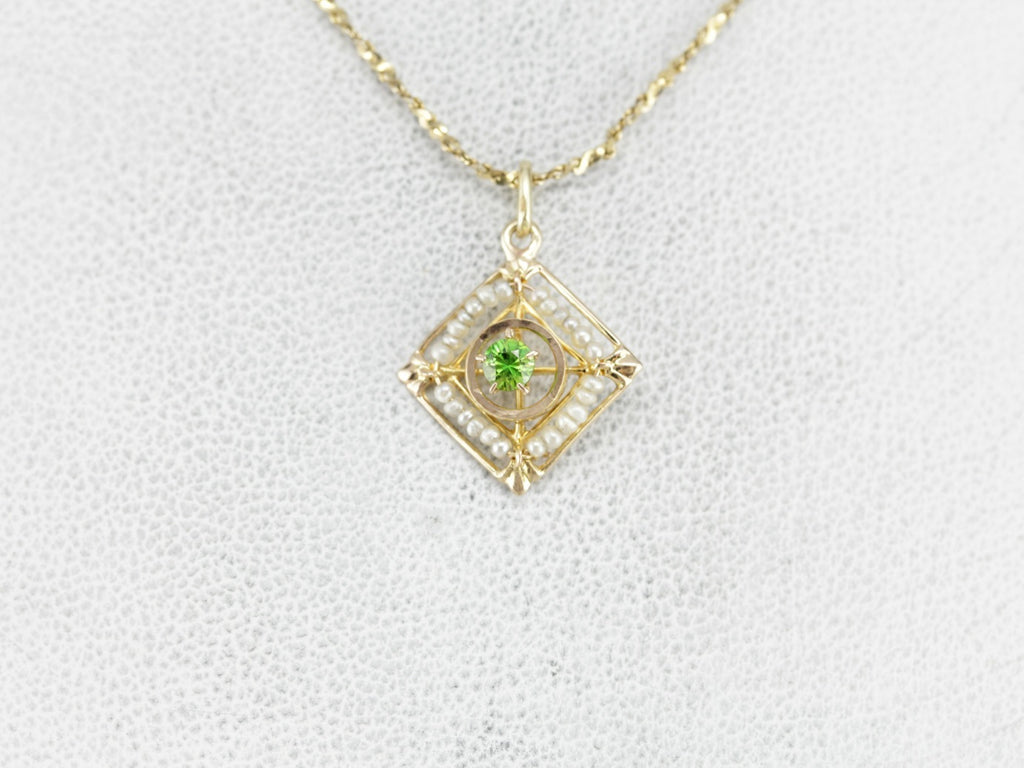 Antique Demantoid Garnet Lavalier Pendant