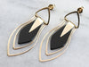 Modernist Black Onyx and Gold Drop Earrings