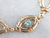 Retro Era Blue Zircon Gold Link Bracelet