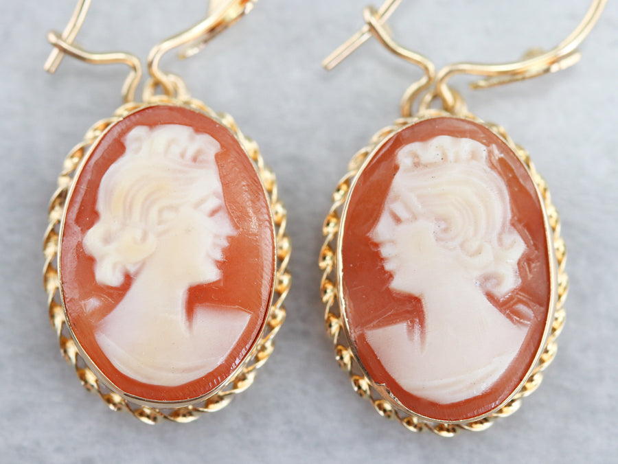 Gold Mid Century Cameo Drop Earrings