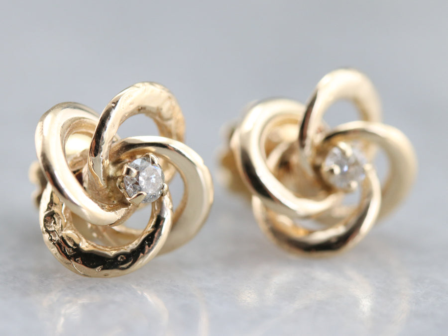 Diamond Lover's Knot Stud Earrings