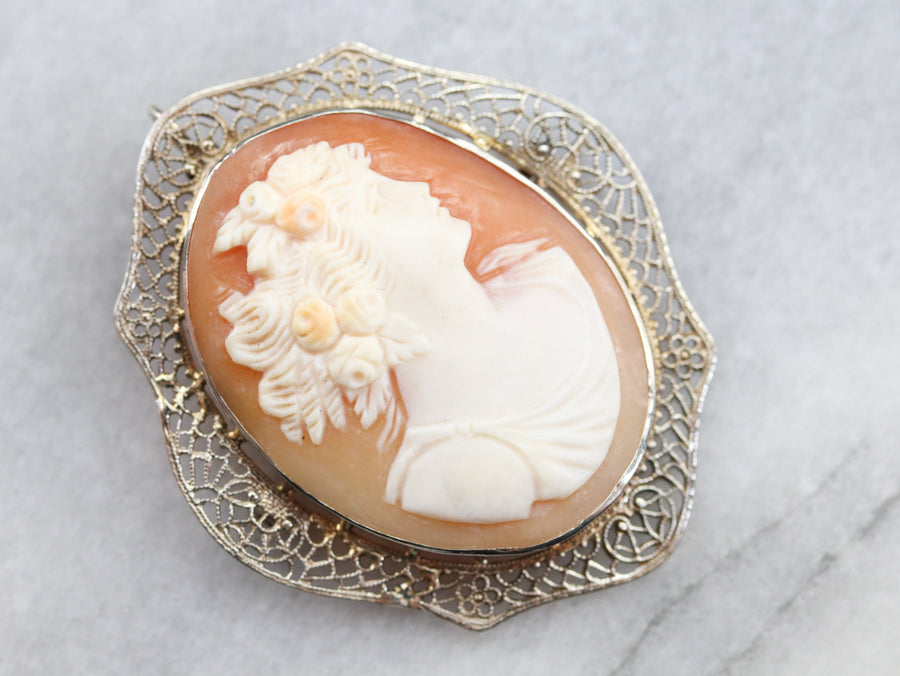 Vintage White Gold Cameo Brooch or Pendant