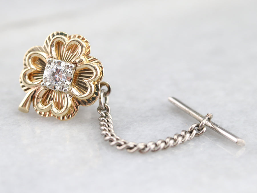 Four Leaf Clover Diamond Tie Tack