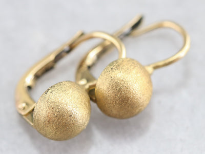 Domed High Karat Gold Drop Earrings