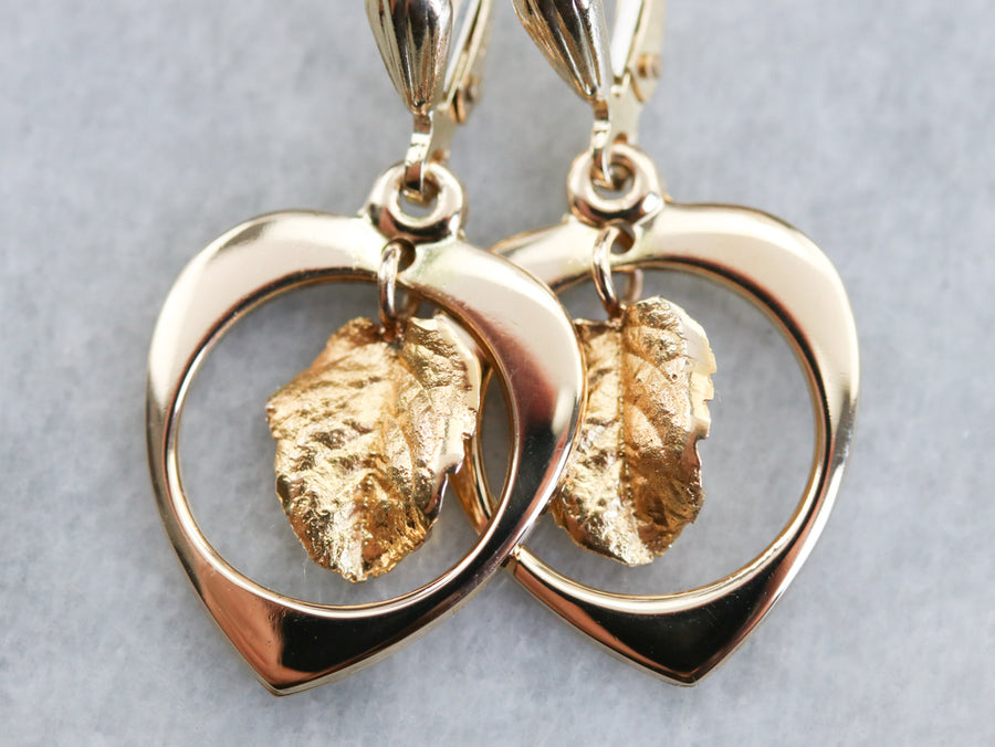 Swinging Gold Leaf Drop Earrings