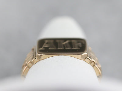 "Early Retro ""AKF"" Gold Signet Ring"
