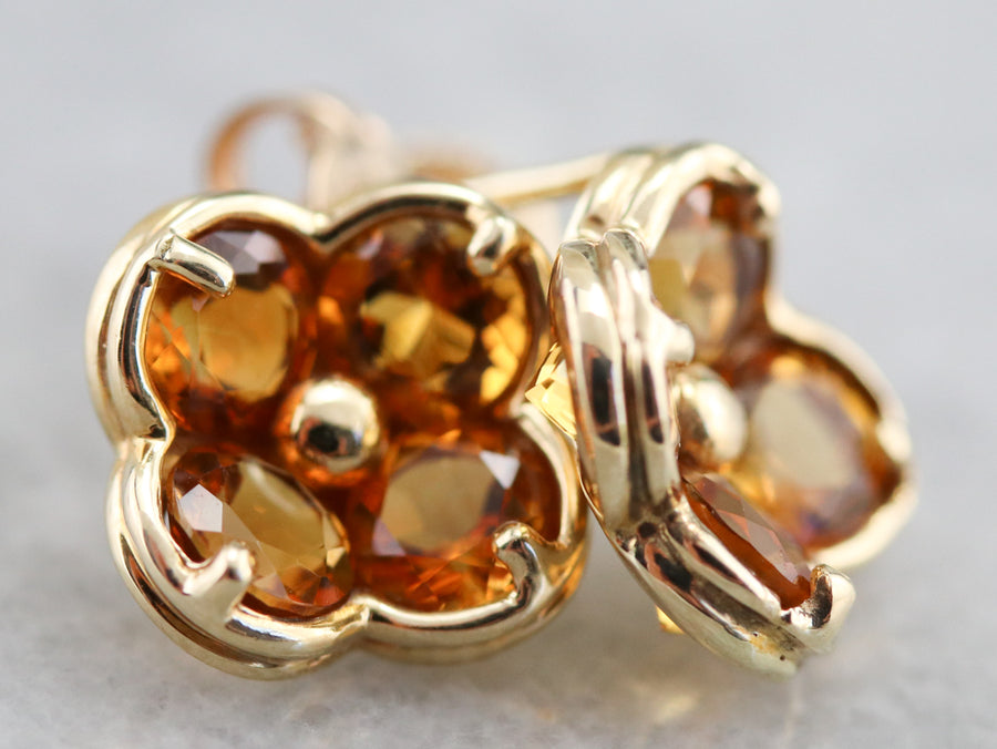Floral Gold Citrine Stud Earrings