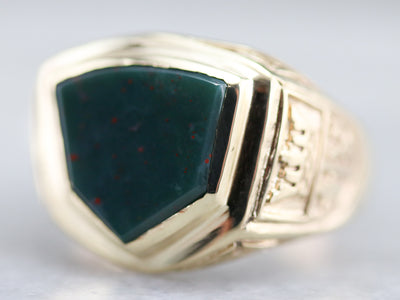 Men's Family Crest Bloodstone Ring
