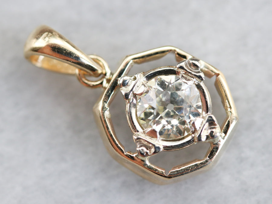 Old Mine Cut Diamond Solitaire Pendant