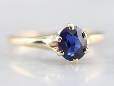 Antique Sapphire Solitaire Ring