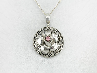 Ornate Pink Tourmaline Floral Sterling Silver Pendant