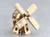 Vintage Moving Windmill Gold Charm