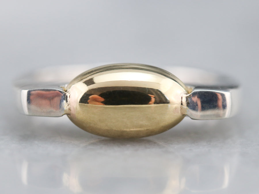 Modernist Silver and Gold Ring
