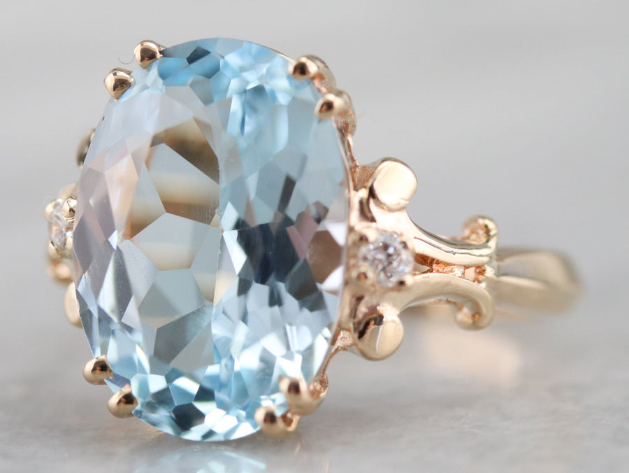 Blue Topaz and Diamond Baden and Foss Ring