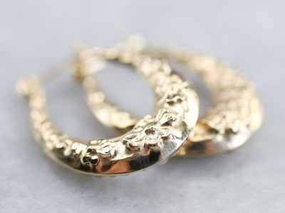 Vintage Gold Tapered Floral Hoop Earrings
