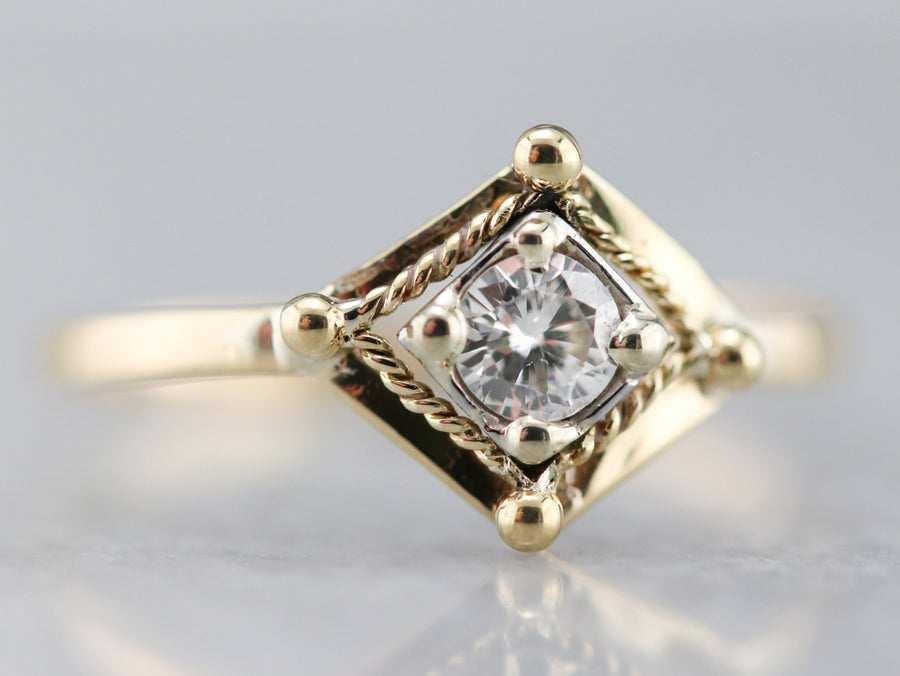 Mixed Metal Diamond Solitaire Ring