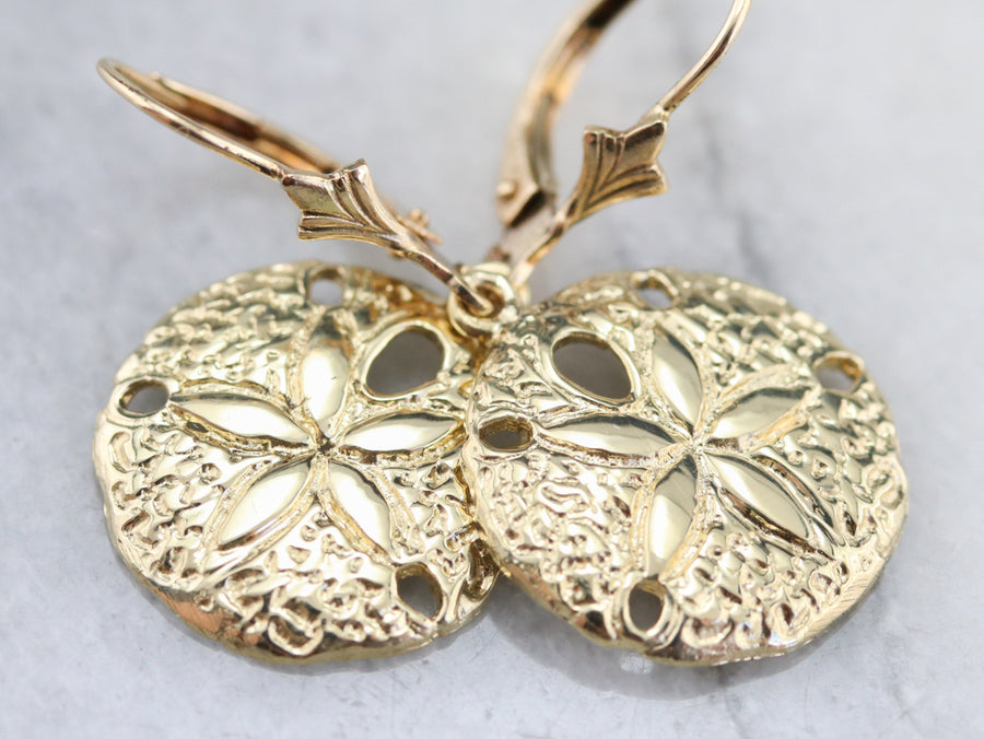 Gold Sand Dollar Drop Earrings