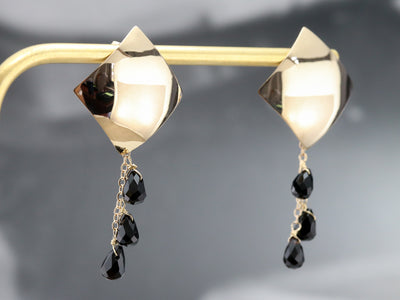 Yellow Gold and Black Onyx Beaded Earrings