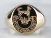 Gold Irish Family Crest Signet Ring