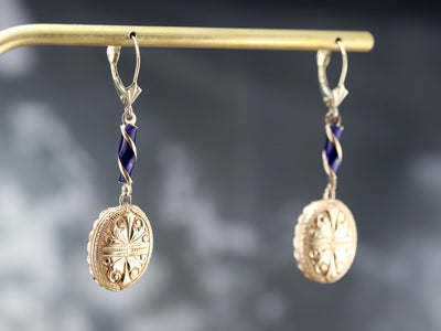 Etched Gold and Enamel Drop Earrings