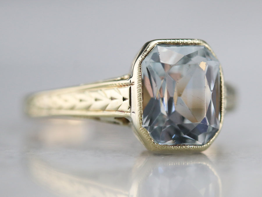 Art Nouveau Aquamarine Solitaire Ring
