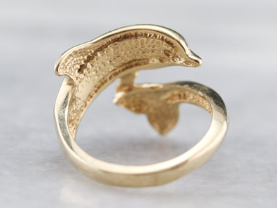 Gold and Opal Dolphin Wrap Ring