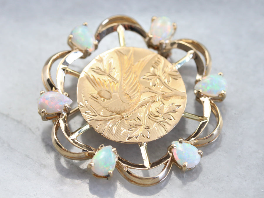Opal Songbird Etched Gold Brooch
