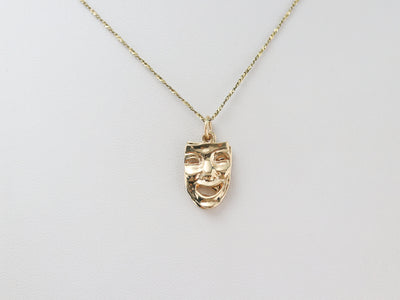 Gold Comedy and Tragedy Pendant
