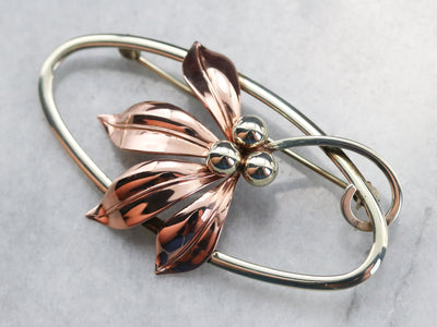 Mixed Metal Retro Era Floral Brooch