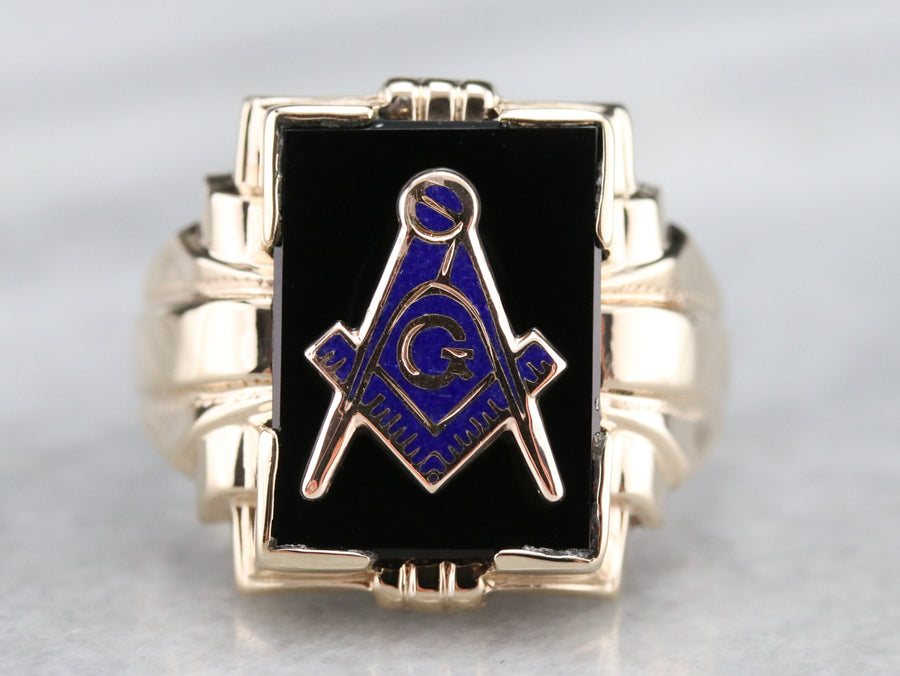 Early Retro Era Onyx Masonic Ring