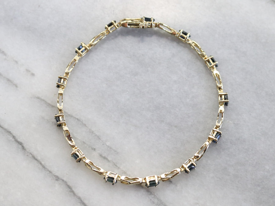 Sapphire and Gold Link Bracelet