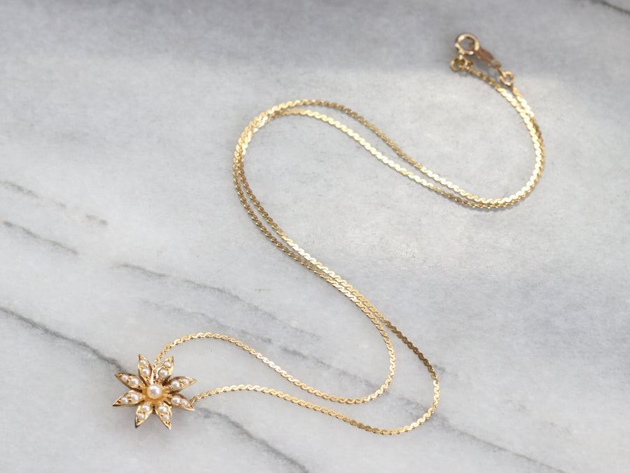 Seed Pearl Daisy Necklace