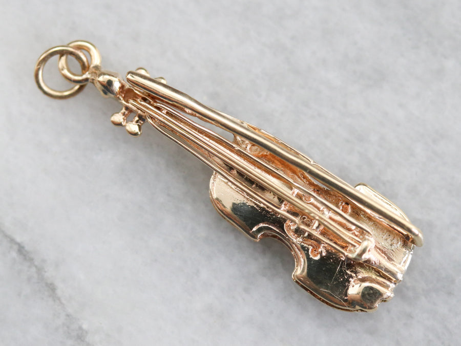 Yellow Gold Violin Charm