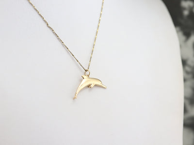 Gold Jumping Dolphin Charm or Pendant