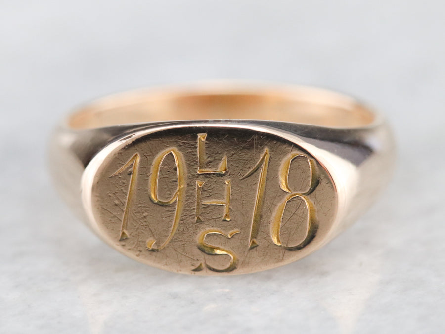"Antique ""1918 LHS"" Signet Ring"
