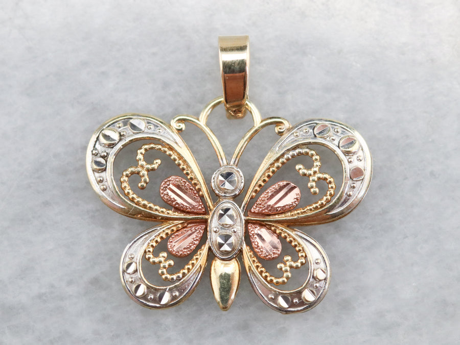 Gold Filigree Butterfly Pendant