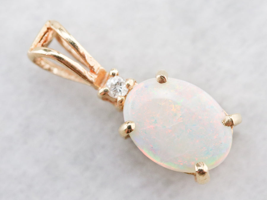 Gold Opal and Diamond Pendant