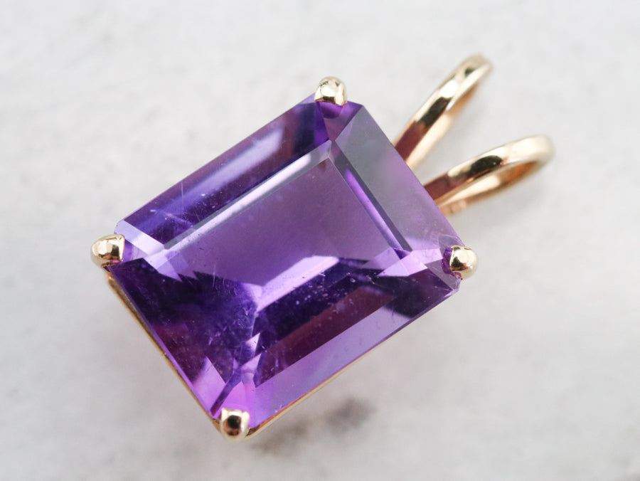 Gold Amethyst Solitaire Pendant