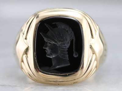 Men's Black Onyx Intaglio Ring