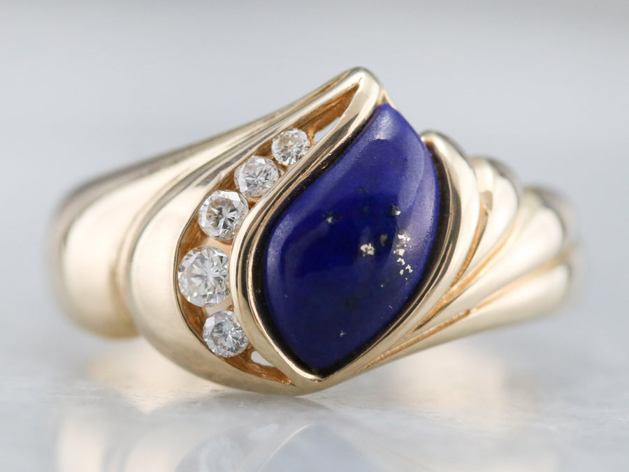 Modernist Lapis and Diamond Ring