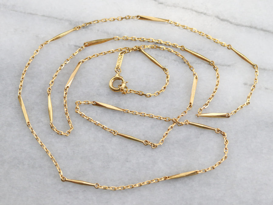 Gold Twisting Link Chain Necklace