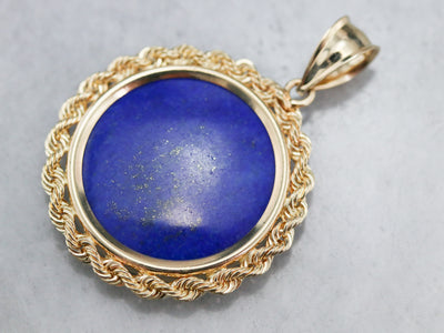 Bold Lapis and Gold Pendant