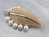 Mid Century Diamond and Pearl Leaf Brooch