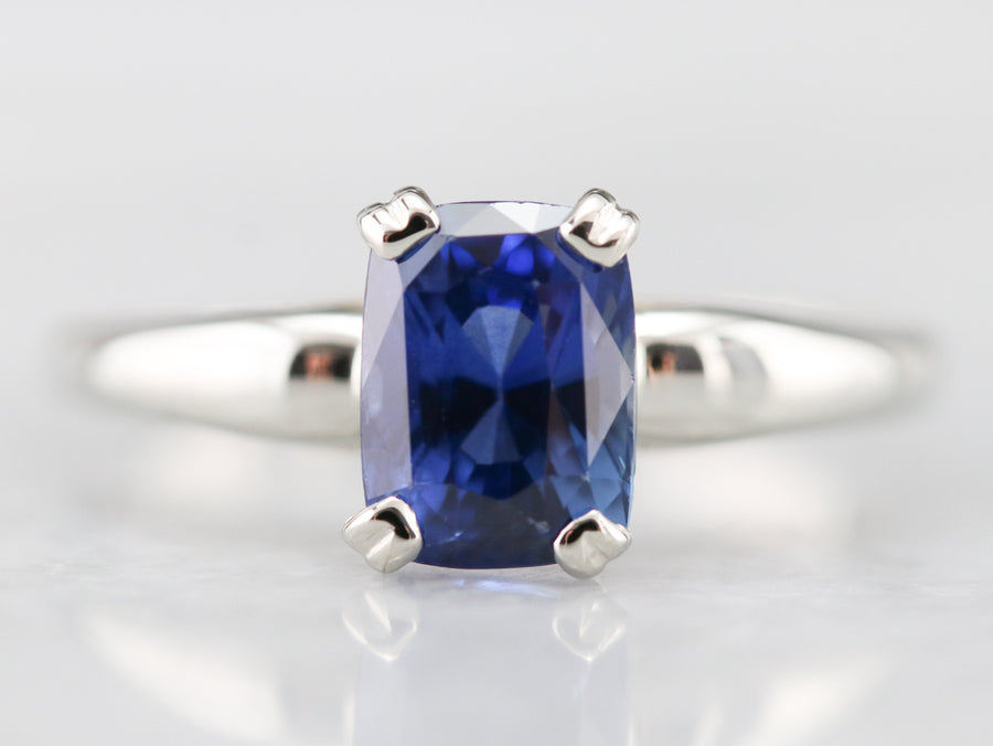 Cushion Cut Ceylon Sapphire Solitaire Ring