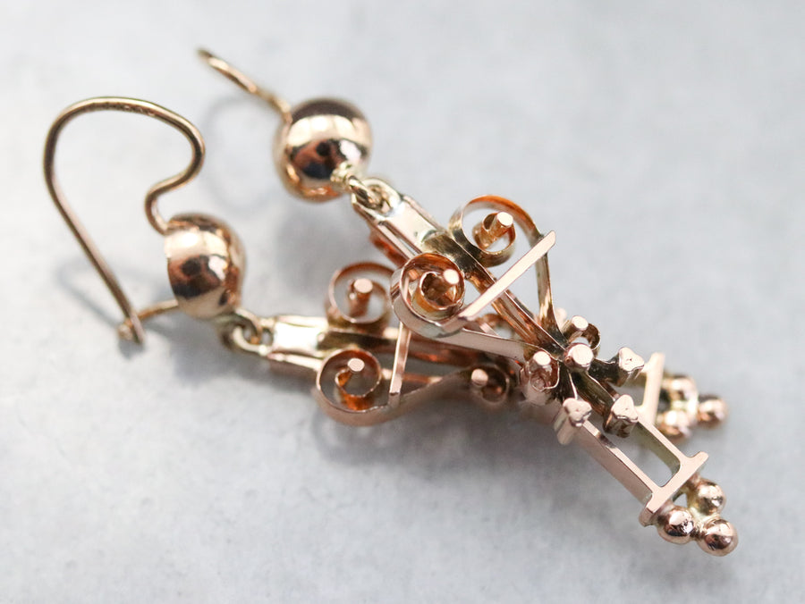 Upcycled Gold Victorian Drop Earrings