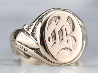 "Men's Victorian Old English Letter ""B"" Signet"